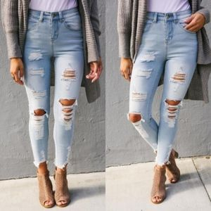 Denim - CRISSY Distressed Skinny Jeans